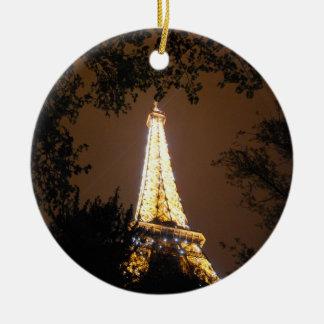 Tour Eiffel la nuit Ornement Rond En Céramique