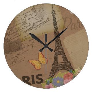 Tour Eiffel vintage de Paris Grande Horloge Ronde
