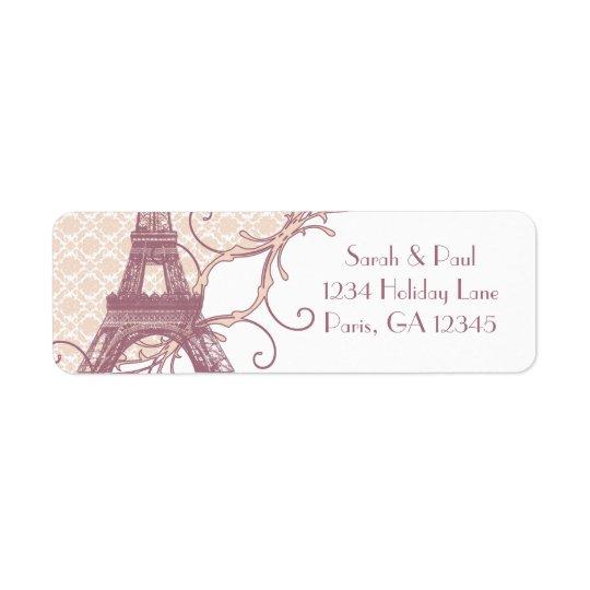 Tour Eiffel vintage mauve de damassé argentée de Étiquette D'adresse Retour