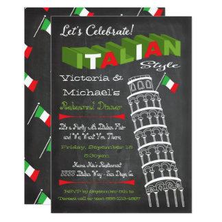 Tour italienne d'anniversaire de dîner de carton d'invitation  12,7 cm x 17,78 cm