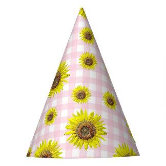 Tournesol de guingan de rose de casquette de fête chapeaux de fètes