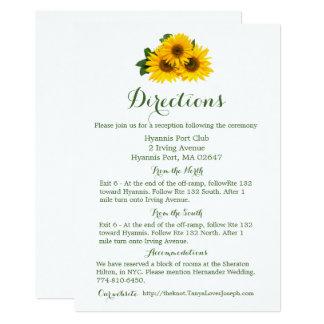 Tournesol jaune de détails floraux de directions - carton d'invitation  12,7 cm x 17,78 cm
