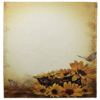 Tournesol jaune de papillon de serviettes de tissu