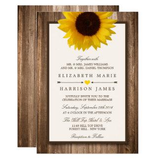 Tournesol rustique de pays et mariage en bois de carton d'invitation  12,7 cm x 17,78 cm