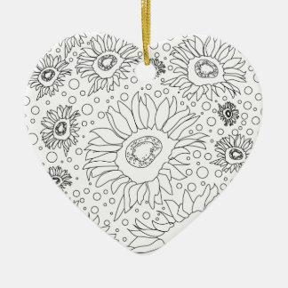 Tournesols colorant la page ornement cœur en céramique