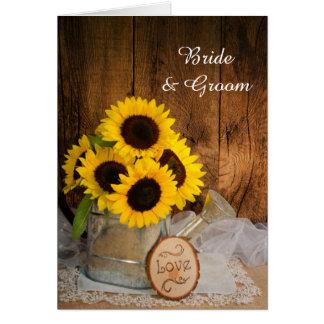 Tournesols et invitation de mariage de boîte
