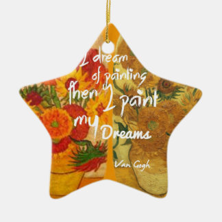 Tournesols joyeux et tristes ornement étoile en céramique