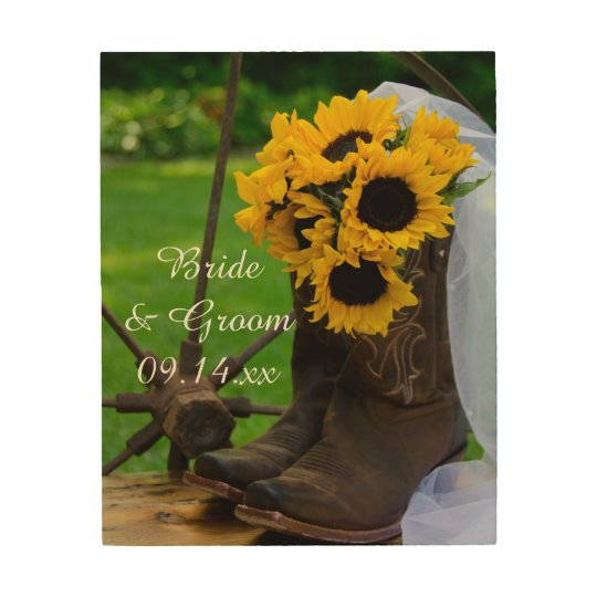 tournesols rustiques et mariage occidental de impression sur bois zazzle. Black Bedroom Furniture Sets. Home Design Ideas