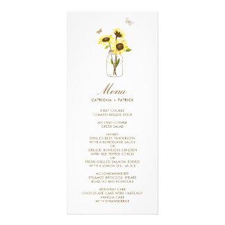 Tournesols sur la carte florale de menu de mariage
