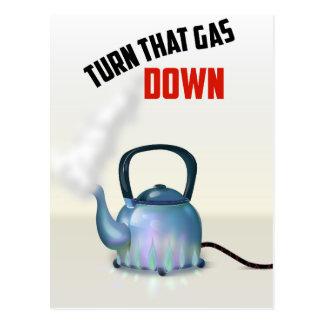 Tournez le poster vintage de gaz vers le bas cartes postales