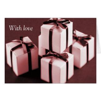 Tous attachés avec des rubans carte de vœux