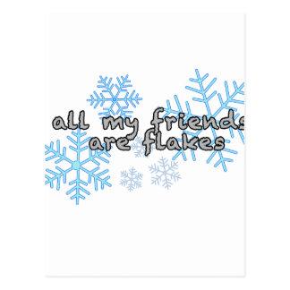 Tous mes amis sont des flocons carte postale