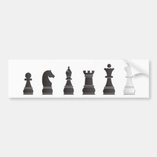 Tout l'un blanc noir, pièces d'échecs autocollant de voiture