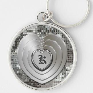 Tout porte - clé argenté initial de coeurs porte-clé rond argenté