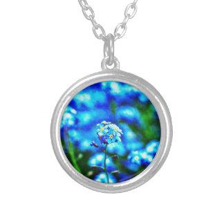 Tout seulement collier rond de fleur bleue