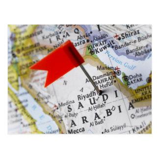 Tracez la goupille placée à Riyadh, Arabie Carte Postale