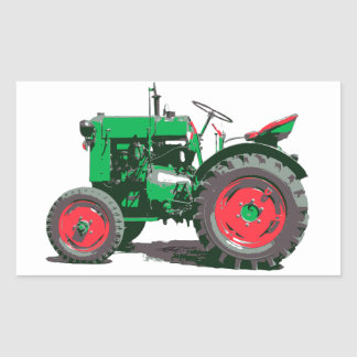 TRACTEUR ANTIQUE STICKER RECTANGULAIRE