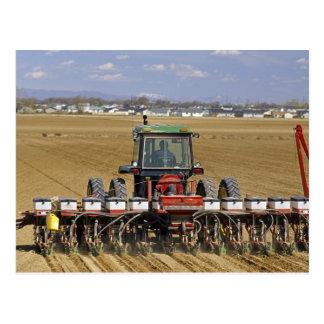 Tracteur tirant un planteur de maïs de graine carte postale