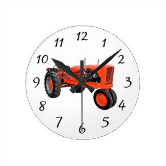 Tracteur vintage reconstitué horloge ronde