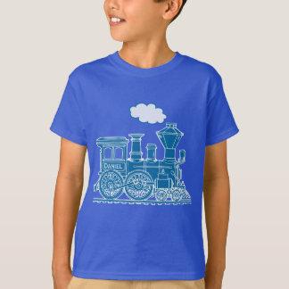"""Train bleu de locomotive à vapeur """"votre"""" T-shirt"""