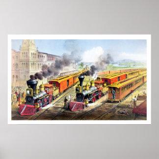 Trains de vapeur, station, poster vintage de