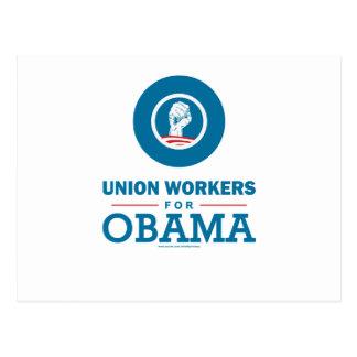 Travailleurs des syndicats pour Obama Carte Postale