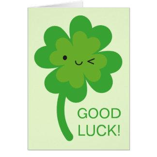 Trèfle de feuille de la bonne chance quatre de carte de vœux