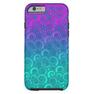 Trendy Golvende Blauwgroen en Heldere Roze Tough iPhone 6 Hoesje