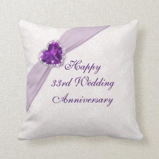 Trente-troisième carreau d'anniversaire de mariage oreiller