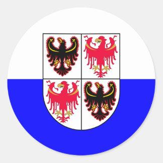 Trentino-Sud drapeau de Tyrol, Italie Sticker Rond
