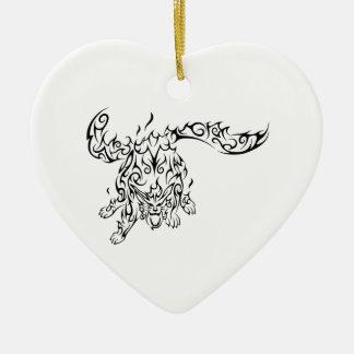 tribal tiger ornement cœur en céramique