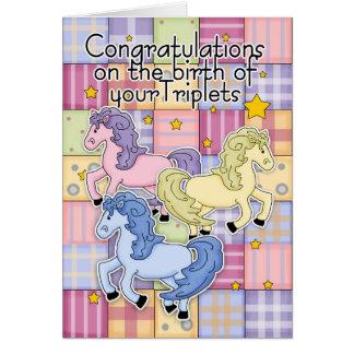 Triplets, naissance de félicitations des triplets carte de vœux