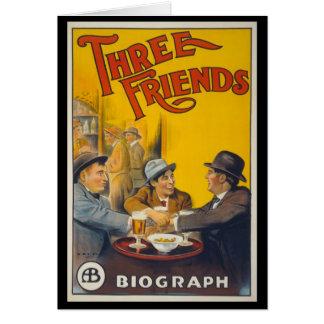 Trois amis carte de vœux