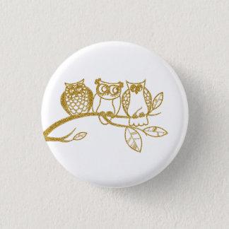 Trois bébés de hibou dans le bouton de badge rond 2,50 cm