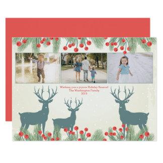 Trois carte de Noël de baie et de cerfs communs de Carton D'invitation 12,7 Cm X 17,78 Cm
