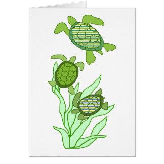 Trois dans une carte vierge de tortue de mer de