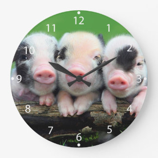 Trois petits porcs - porc mignon - trois porcs grande horloge ronde