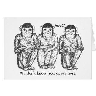 Trois sages, moderne, Monkeys des cartes