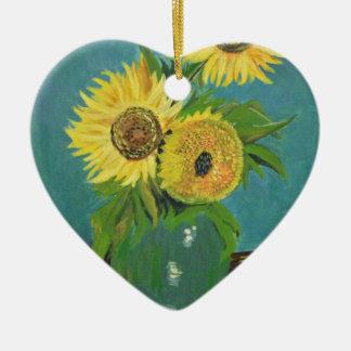 Trois tournesols dans un vase, Van Gogh Ornement Cœur En Céramique