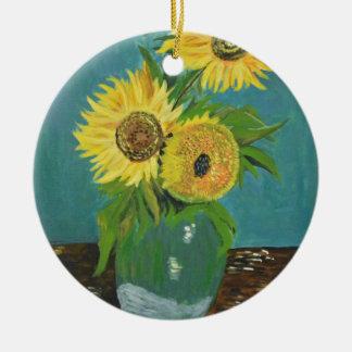 Trois tournesols dans un vase, Van Gogh Ornement Rond En Céramique