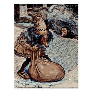Troll avec sa main dans un sac carte postale