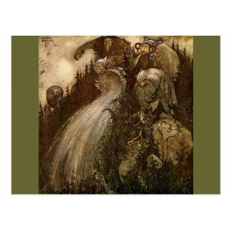 Trolls versant l'eau - en bas d'une colline carte postale