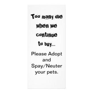 Trop meurent… adoptent stérilisent/cartes neutres cartons d'informations  10 cm x 22,9 cm