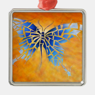 Tropenillo V1 - le papillon bleu Ornement Carré Argenté