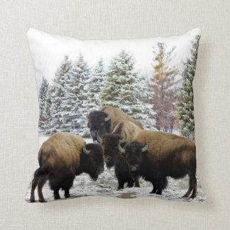 Troupeau de bison dans le coussin décoratif de