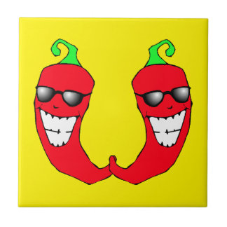 Tuile anthropomorphe chaude fraîche de poivrons de petit carreau carré