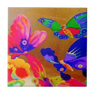 Tuile colorée 3 de papillon de Chinoiserie Petit Carreau Carré