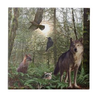 Tuile de cadeau d'animaux de forêt petit carreau carré
