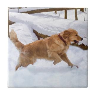 Tuile de chien de golden retriever carreau