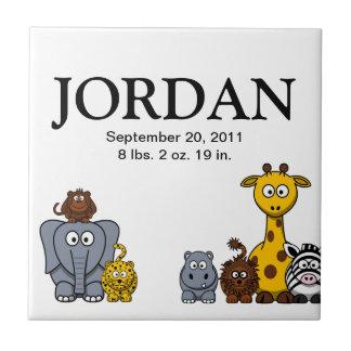 Tuile de nom de bébé des animaux 3 mignons de jung petit carreau carré
